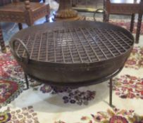 KADAI FIRE BOWL ON STAND, Indian style with a trellis grill and handles, 85cm x 80cm x 48cm H.