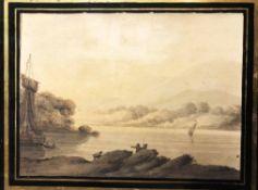 DANIEL SZEBERENYI (b.1949) 'Market Town on Bank o f a Canal', oil on panel, 24cm x 30cm, framed.