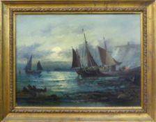 19th CENTURY SCHOOL 'Marine Scenes', a pair of oils on canvas, signed, 22cm x 30cm, framed.