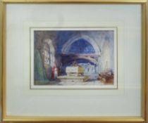 19th CENTURY ENGLISH SCHOOL 'Church Interior', pen and watercolour on paper,