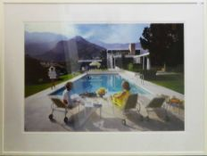 AFTER SLIM AARONS 'Poolside Gossip', photoprint, 94cm x 125cm, acrylic glazed in white frame.