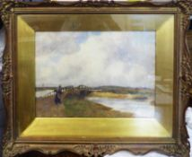 SYDNEY MANOOCH (British 1855-1917) 'Crossing the Bridge', watercolour, signed lower right,