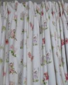 CURTAINS, two pairs, flower fairies, lined and interlined, one pair 128cm W x 205cm drop,