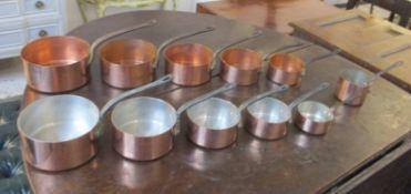 BATTERIE DE CUISINE, a set of five graduated copper pans, the largest 20cm diam,