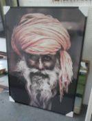 PORTRAIT OF AN INDIAN GENTLEMAN, contemporary school, framed, 145cm x 105cm.