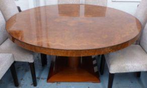 DINING TABLE, circular figured burr walnut, 160cm x 76cm H.