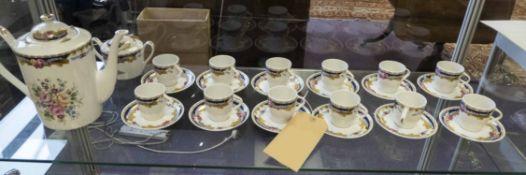 GHIRLAND LIMOGES COFFEE SERVICE, twelve cups and saucers, coffee por, sugar bowl, cream jug.