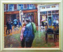 SYLVIA CLARK MALLOY (British 1914-2008) 'Rainy Day in Birmingham', oil on canvas,