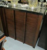 CHEST OF DRAWERS, contemporary Macassar finish, with marble top, 100cm H.