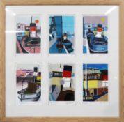 JOHN STOPS (British 1925-2002) 'Bristol Docks', 2000, six woodblock engravings, individually signed,