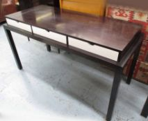 DESK, contemporary style with three drawers on square supports, 153cm x 69cm x 86cm H.