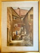 WALTER EMSLEY (British 1860-1938) 'Arguments Yard - Old Whitby', watercolour, signed lower left,