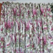 CURTAINS, two pairs, lined and interlined in a floral Bernhard Thorpe fabric, 98cm W x 255cm Drop.