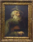 19th CENTURY SCHOOL 'Portrait of a Violinist', oil on canvas, 70cm x 50cm, framed.