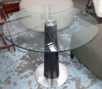 BREAKFAST TABLE, contemporary, tempered glass top, 74cm H x 90cm Diam.