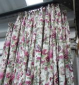 CURTAINS, two pairs, lined and interlined in a floral Bernard Thorpe fabric,