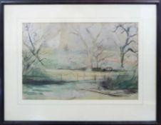 GEORG EHRLICH (Austrian 1897-1966) 'Campden Fields', 1945, pencil and watercolour,