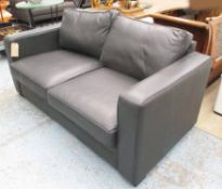 SOFA, two seater, in dark grey leather on block supports by Forrest Contract Furniture, 185cm L.