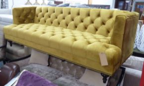 ARTSOME FOR COACH HOUSE SOFA, mustard buttoned finish, 210cm W.