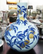 CHINESE VASE, in blue and white with gold and peach decoration, 66cm H.