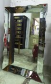 MIRROR, Venetian style with an angled mirrored frame with etched detail, 98cm W x 148cm.