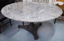 BORG AND RINALLI MARBLE TOP DINING TABLE, grey painted iron base, 158cm diam x 77cm H.