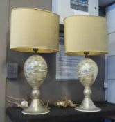 MURANO TABLE LAMPS, a pair, with shades, 68cm H.