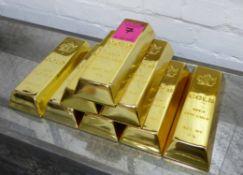 FAUX GOLD BULLION BARS, eight bricks with Canadian seal, 24cm x 9cm x 4cm.