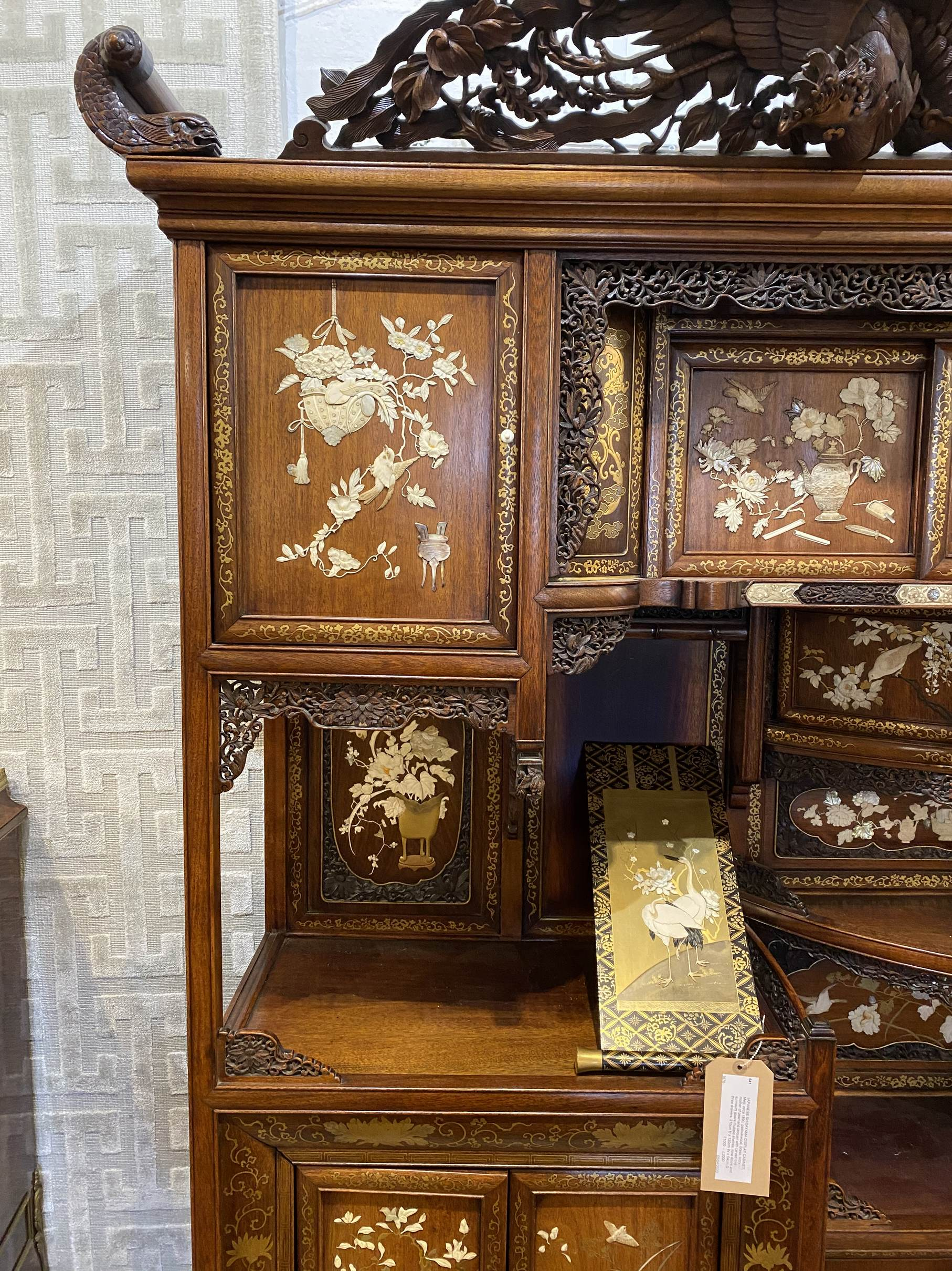 Lot 541 - JAPANESE SHIBAYAMA DISPLAY CABINET, Meiji, circa 1890, padoukwood, brass, ivory,