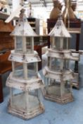PAGODA LANTERNS, a pair, French-Orientalist style, 65cm H.