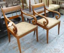 E PETTERSSON GEFIE MOBLERINGSAFFAR OPEN ARMCHAIRS, a pair, Swedish Art Deco birch and inlaid,