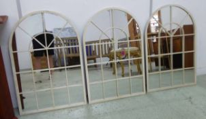 MIRRORS, a set of three, French Provincial inspired, white painted finish, 60cm x 90cm.