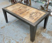 LOW TABLE, vintage French style with faux wine box boarding detail, 106cm x 59cm x 48cm.