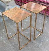 SIDE TABLES, a pair, contemporary coppered finish tops, 63cm x 30cm x 38cm.