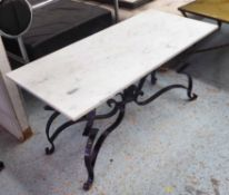 GARDEN LOW TABLE, French style, worked metal with marble top, 92cm x 42cm x 45cm.