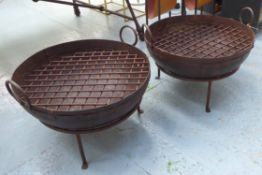 KADI FIRE BOWLS, a pair, vintage Indian Raj style, 64cm diam x 46cm H overall.
