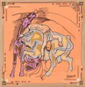 PABLO PICASSO, Bull Fighter, on silk, 78cm x 78cm.