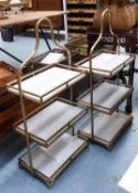 ETAGERES, a pair, gilt metal with marble inserts, 90cm H approx.