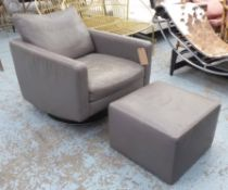 NATUZZI SWIVEL ARMCHAIR, in grey leather with footstool, 74cm x 88cm x 85cm H.