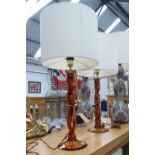 TABLE LAMPS, a pair, amber glass, with shades, overall including shades 77cm H.