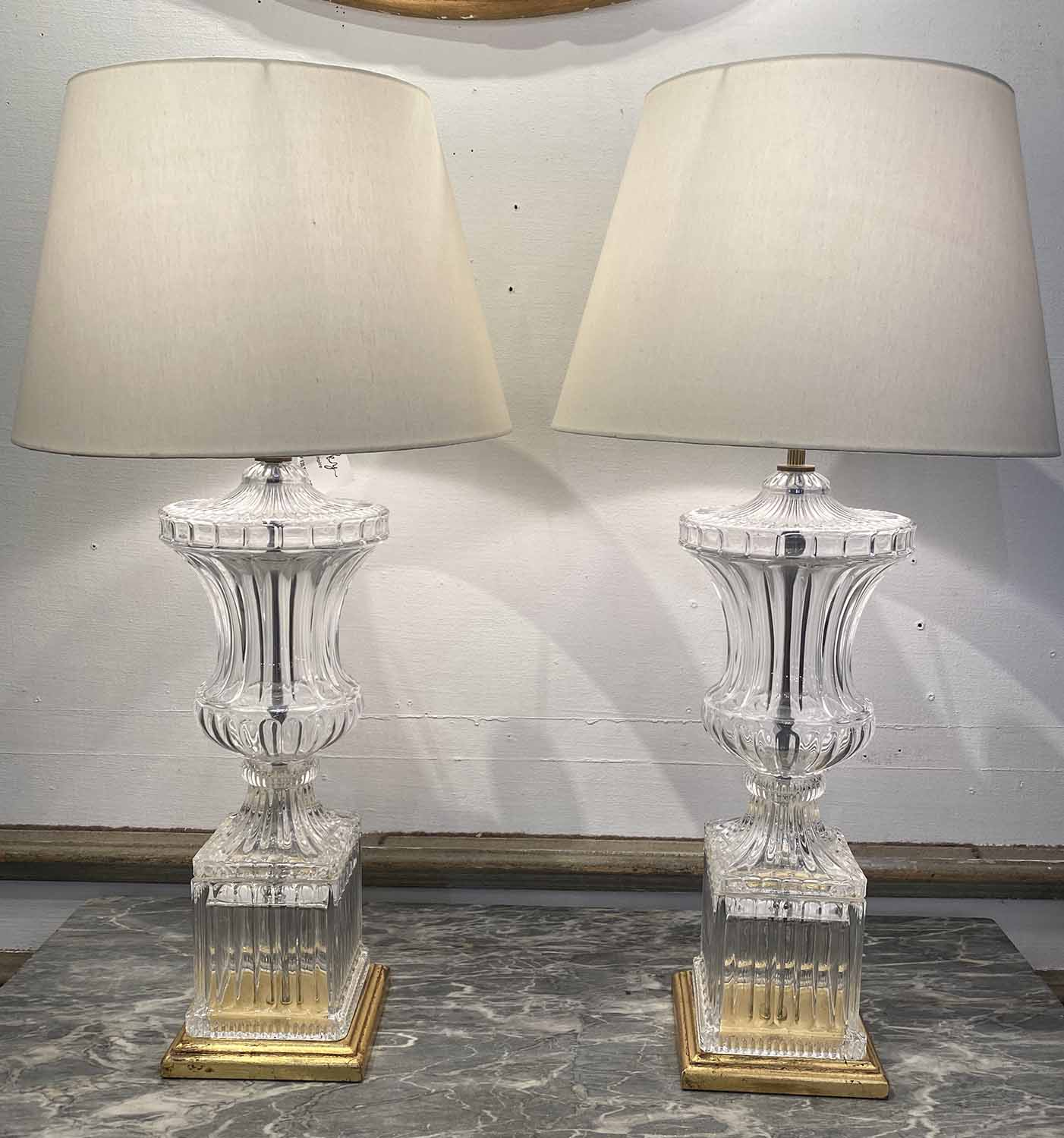 TABLE LAMPS, a pair, in the manner of Baccarat, moulded crystal glass urn design,