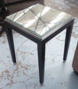 SIDE TABLE, Contemporary, bevelled mirrored top, 45cm x 45cm x 62cm.