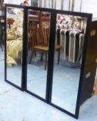 WALL MIRRORS, a set of three, contemporary, 120cm x 45cm.