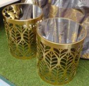 SIDE TABLES, a pair, 1970's Italian style, foliate barrel design, 42cm H.