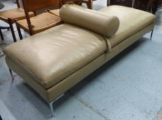 CAMERICH ALISON DAYBED, leather, on polished metal supports, 73cm x 180cm L.