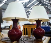 SANG DE BOEUF TABLE LAMPS, a pair with shades, 70cm H.