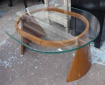 LOW TABLE, 1950's style, tempered glass top, 100cm x 77cm x 47cm.