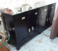 SIDEBOARD, Oriental style ebonised finish, with glass top, 191cm x 45cm x 91cm.