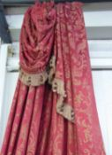CURTAINS, a pair, burgundy damask with bird detail with attached swags, lined and interlined,