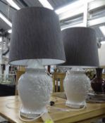 BLANC DE CHINE TABLE LAMPS, a pair, with shades, 69cm H.